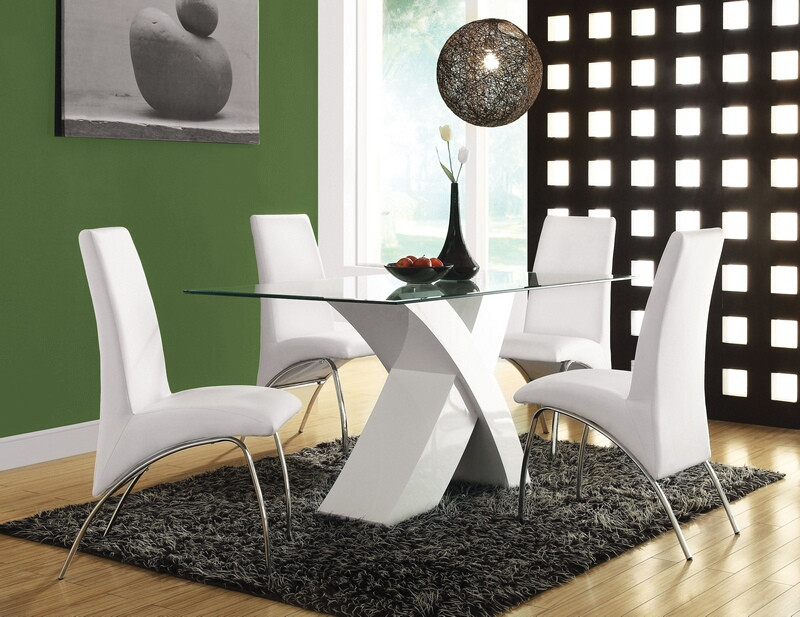 Acme 71105-07 7 pc Pervis white finish wood white faux leather glass top dining table set