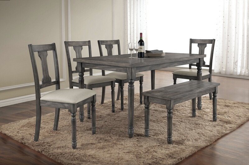 Acme 71435-37-38 6 pc wallace weathered washed gray finish wood dining table set