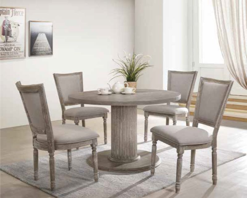 "Acme 71725-60172 5 pc Ophelia & Co. futch gabrian reclaimed gray finish wood 47"" Dia. round dining table set"