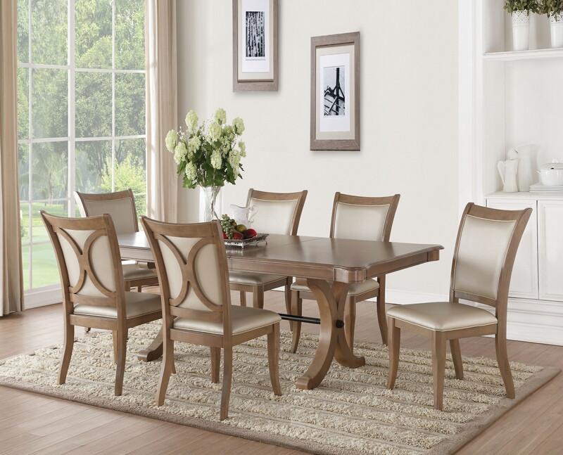 Acme 71765-67 7 pc Gracie oaks harald gray oak finish wood trestle base dining table set