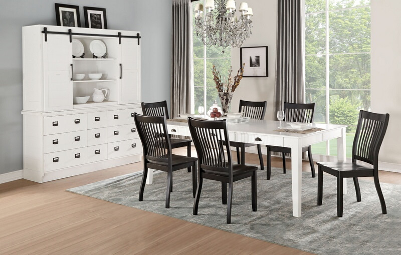 Acme 71850-52 7 pc renske antique white and black finish wood dining table set