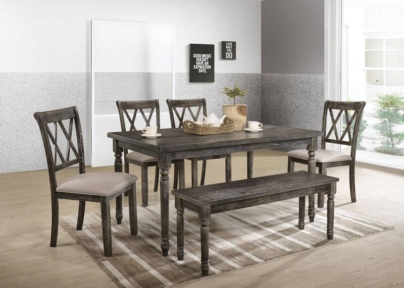 Acme 71880-82-83 6 pc claudia II weathered gray finish wood dining table set
