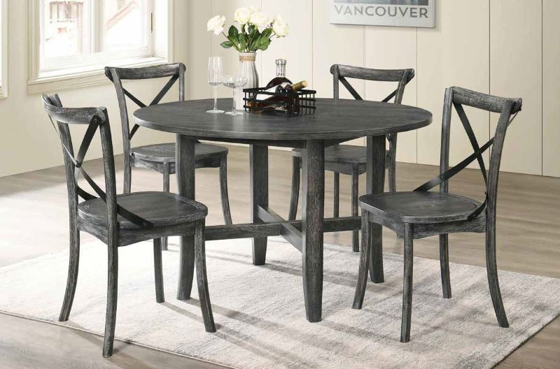 """Acme 71895-97 5 pc kendric rustic gray finish wood 47"""" round dining table set"""
