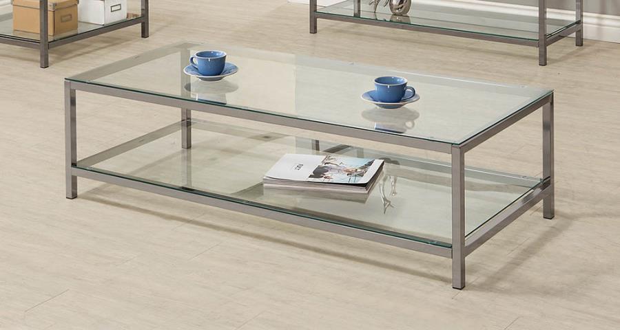 720228 Wade logan black nickel finish metal and glass coffee table