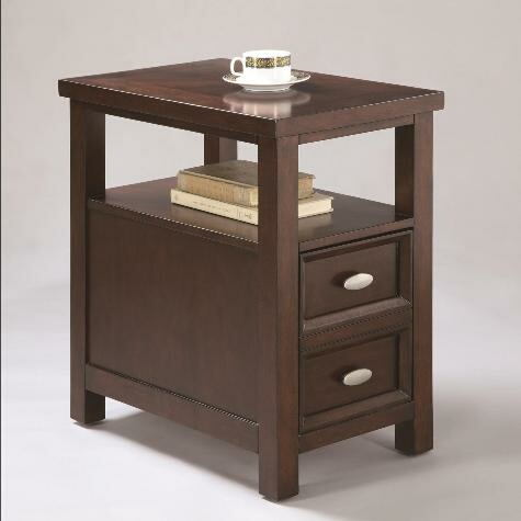 Dempsey dark brown finish wood chair side end table with lower drawer