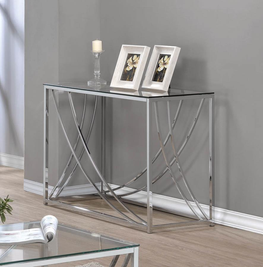 720499 WIlla arlo interiors mckenzie chrome finish metal and glass sofa console entry table
