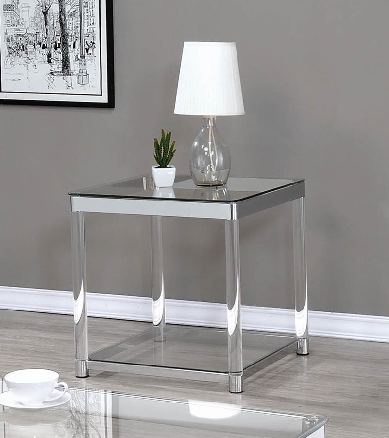 720747 Mercury row benter chrome metal and clear acrylic end table
