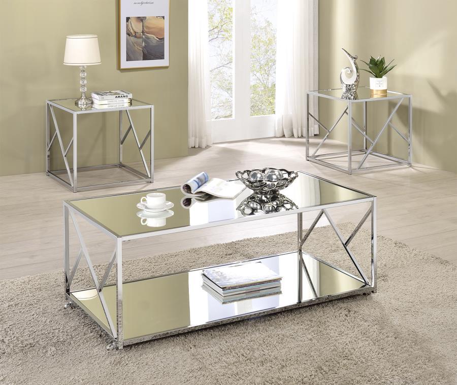 720794 3 pc Wildon home orren ellis chrome finish metal mirror top coffee and end table set
