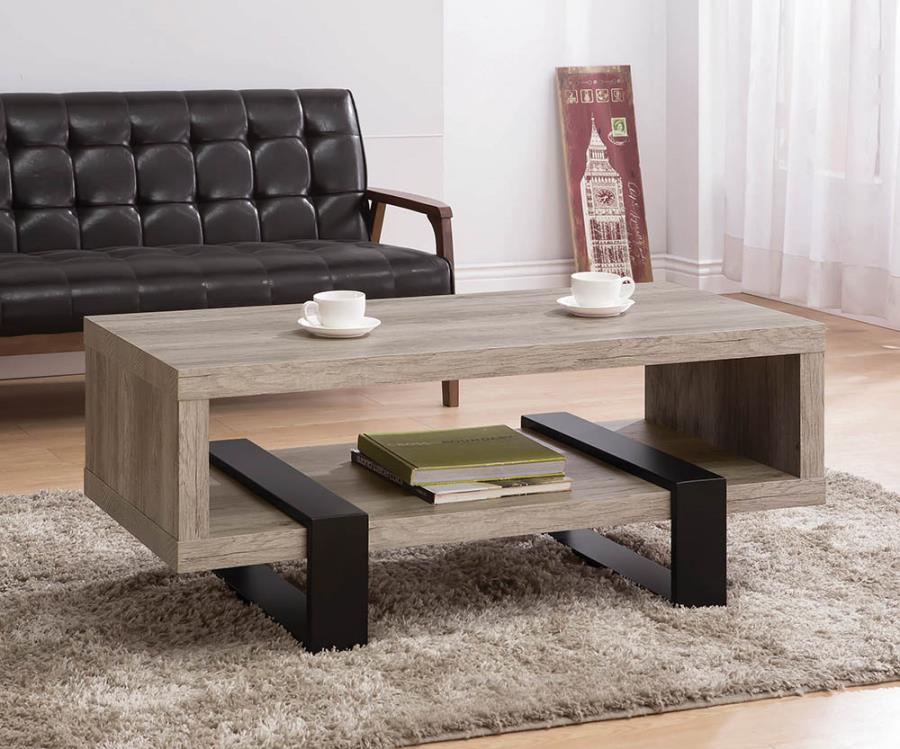 720878 Gracie oaks shiasu kuebler grey driftwood finish and black accents coffee table