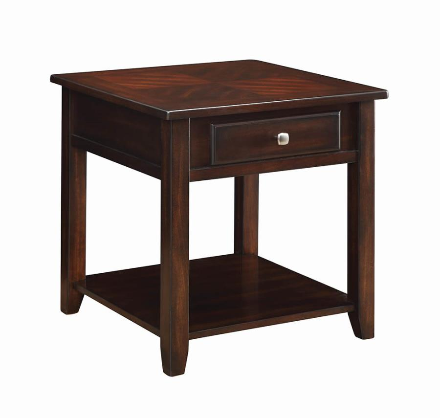 721037 Wildon home red barrel studio divisadero walnut finish wood end table