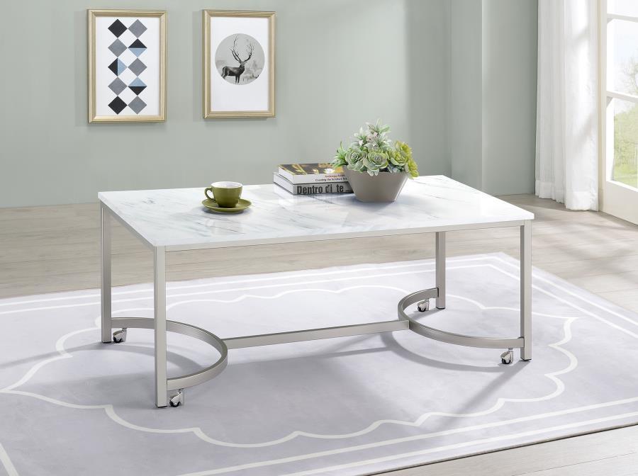 721868 Wildon home orren ellis satin nickel finish metal faux marble top coffee table