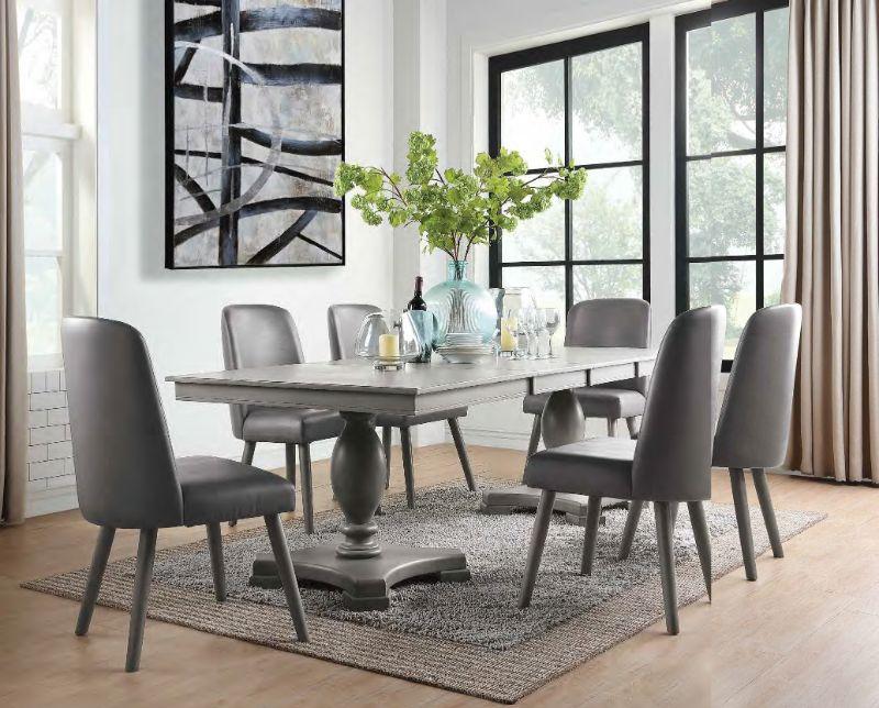 Acme 72200-02 7 pc One allium way jessica waylon gray oak finish wood double pedestal dining table set