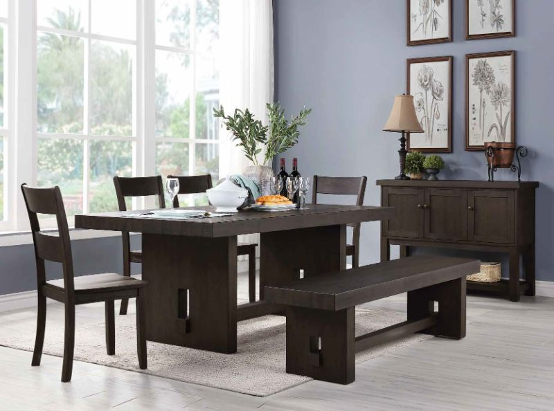 Acme 72210-12-13 6 pc haddie distressed walnut finish wood dining table set with bench