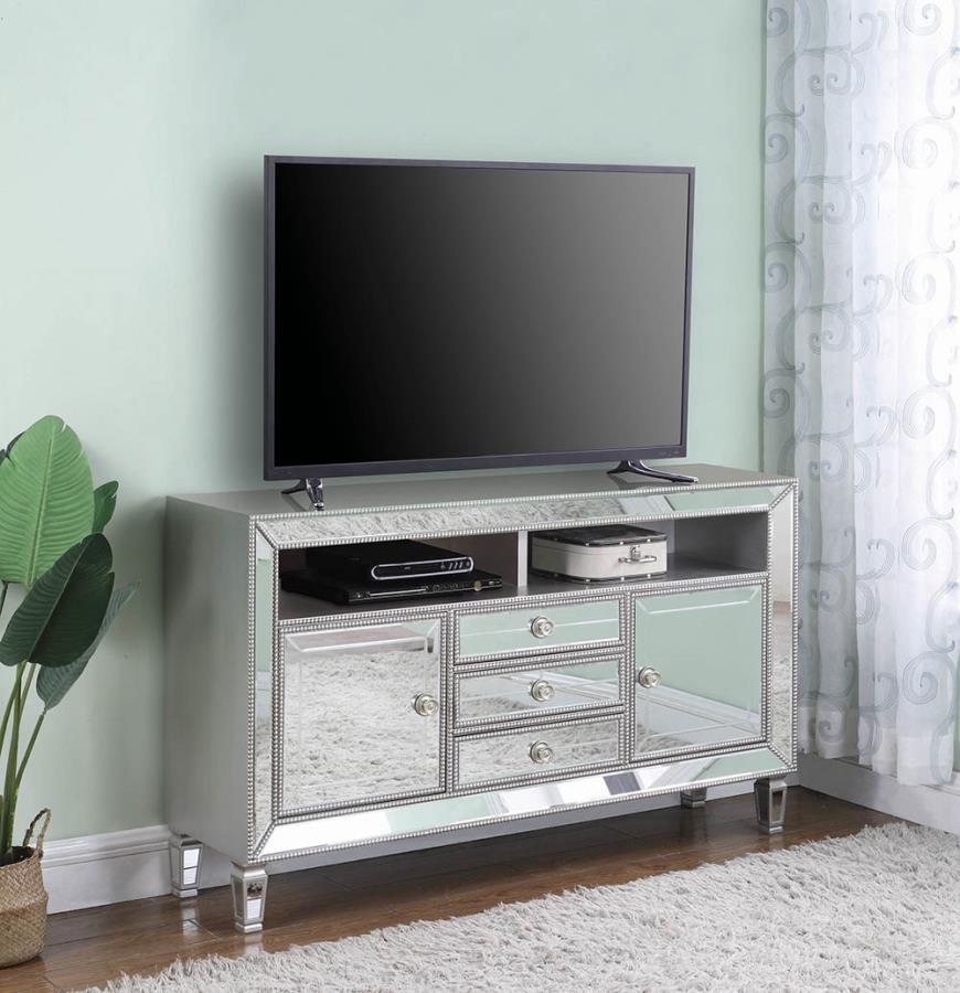 722272 House of hampton burnell metallic platinum finish wood tv stand with drawers