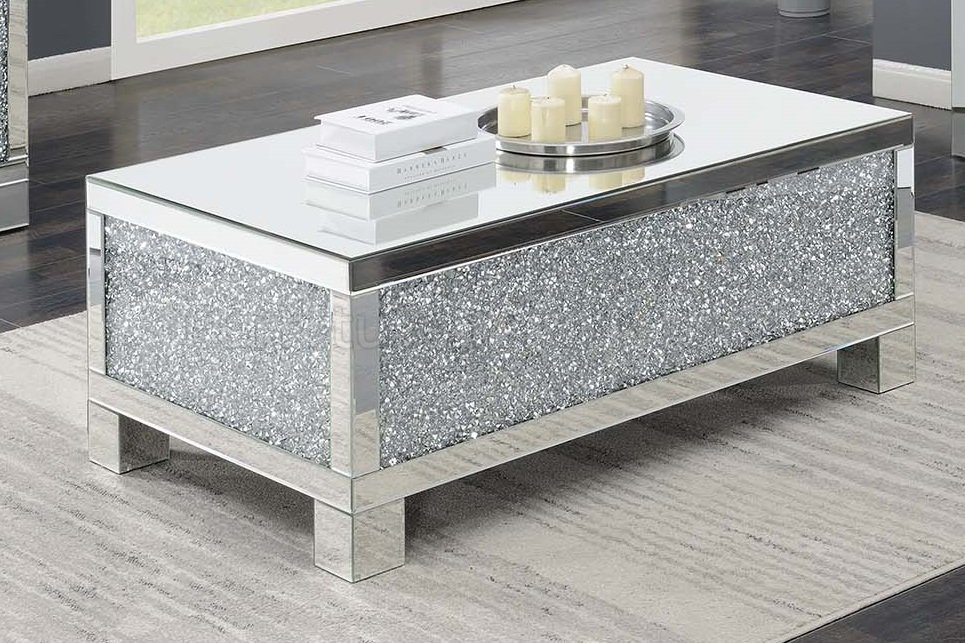 722498 Bellaire silver chrome metal frame coffee table with crystal and mirror accents