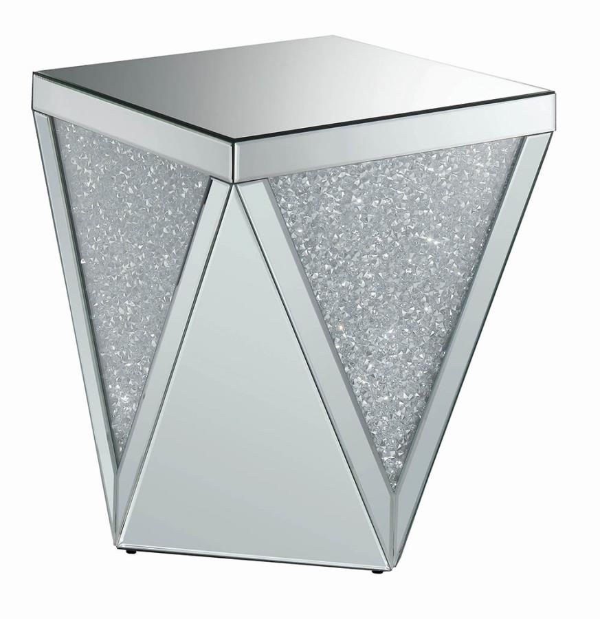 722507 Rosdorf park alessia glass mirror and crystal square modern end table