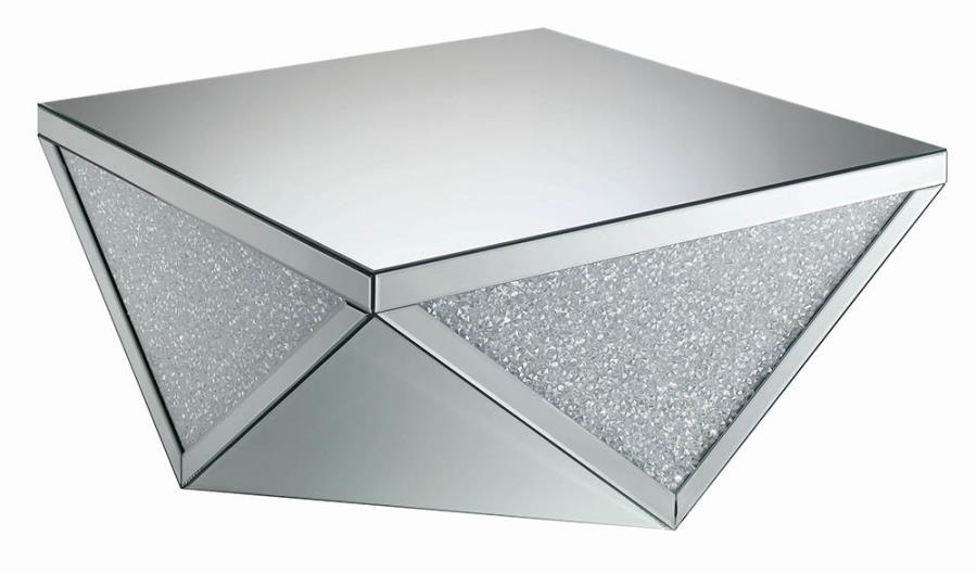 722508 Rosdorf park alessia glass mirror and crystal square modern coffee table