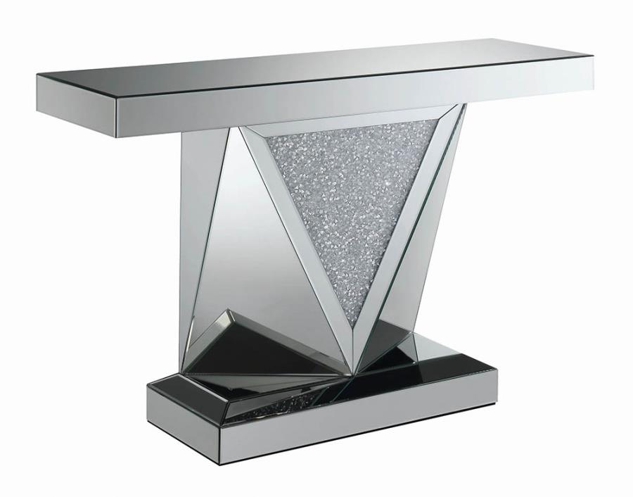 722509 Rosdorf park alessia glass mirror and crystal triangular base sofa entry console table