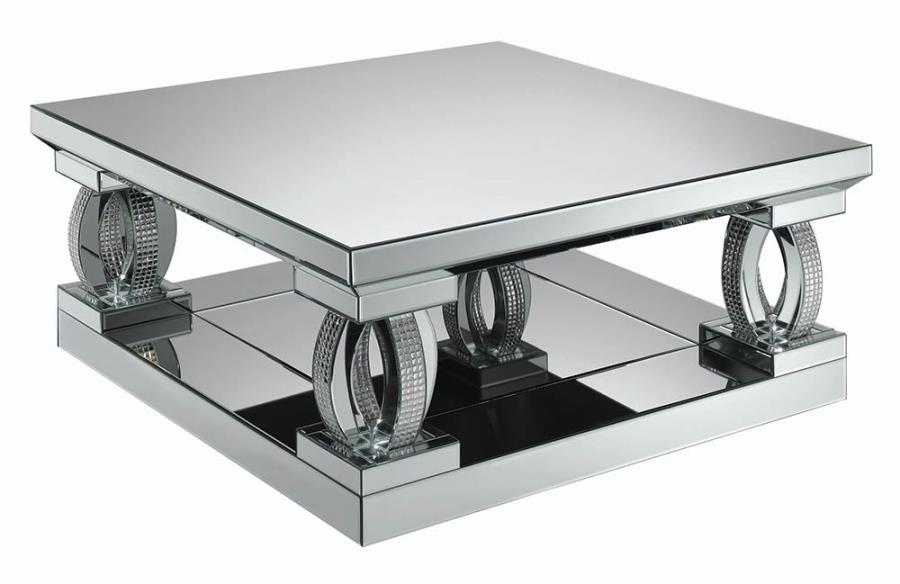 722518 Rosdorf park lenum glass mirror and crystal square modern coffee table