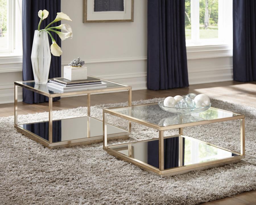 722660 2 pc  Wildon home orren ellis rose brass finish metal glass top coffee tables