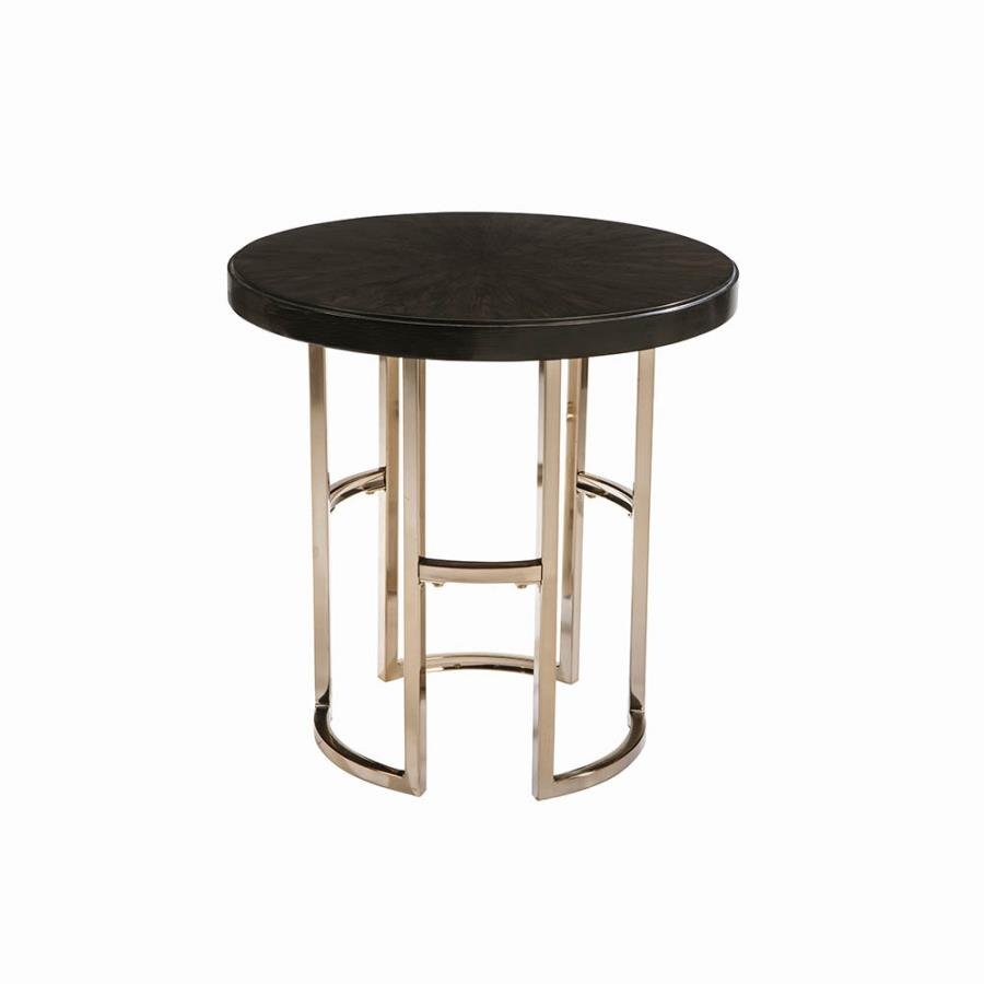 722747 Kendall americano round dark brown top rose brass finish metal end table