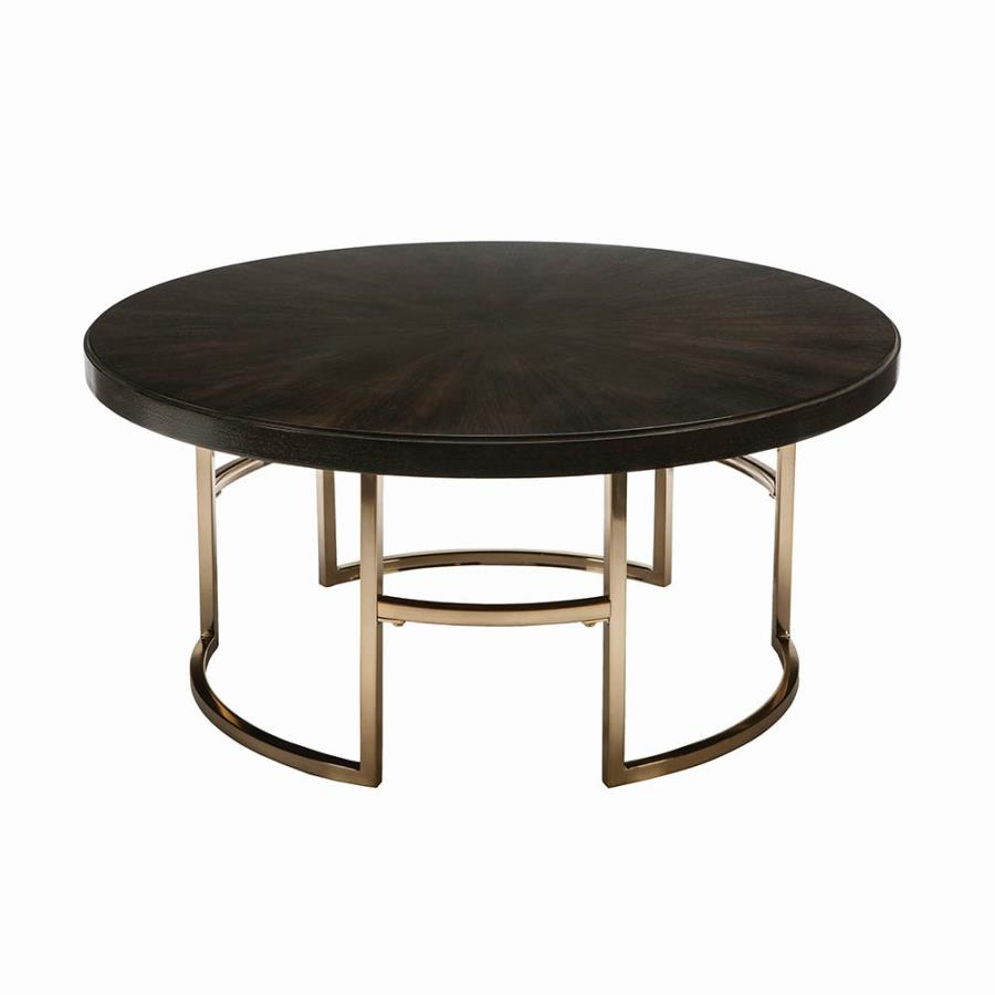 722748 Kendall americano round dark brown top rose brass finish metal coffee table
