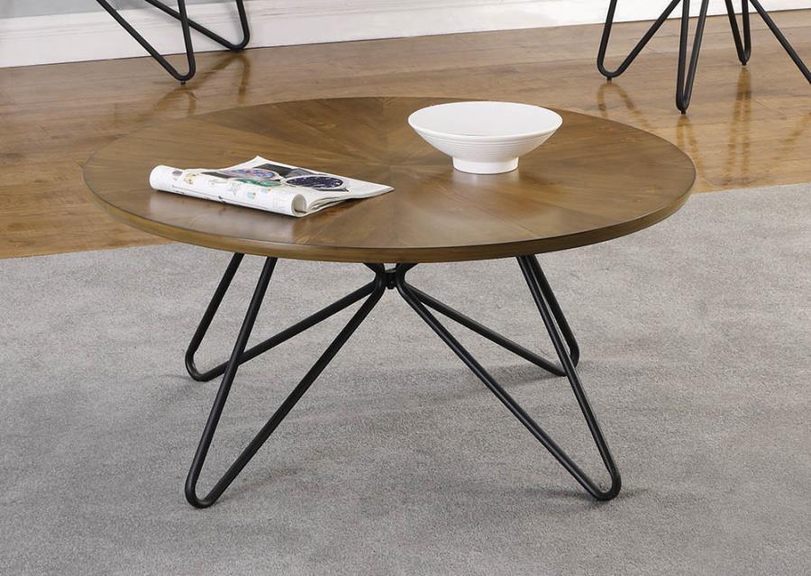 722898 Carson carrington hjulslatt round dark brown top black finish metal coffee table