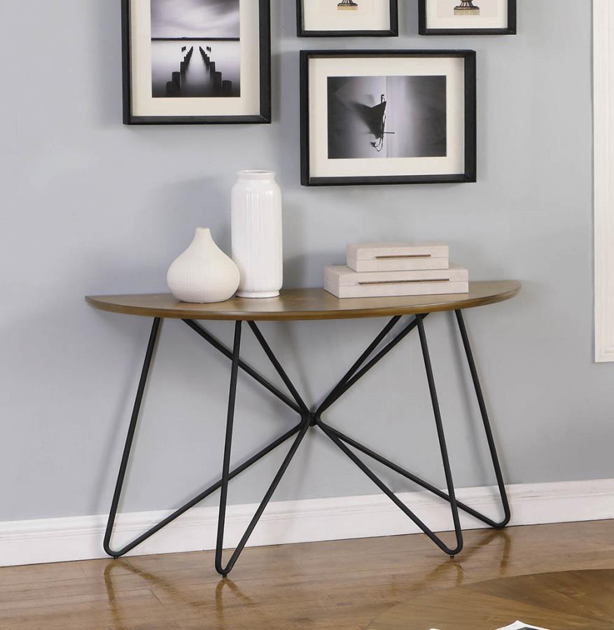 722899 Carson carrington hjulslatt round dark brown top black finish metal sofa entry console table