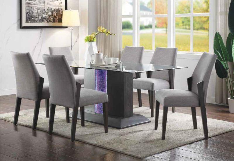 Acme 72290-92 7 pc Belay gray oak finish wood LED lighted pedestal base dining table set