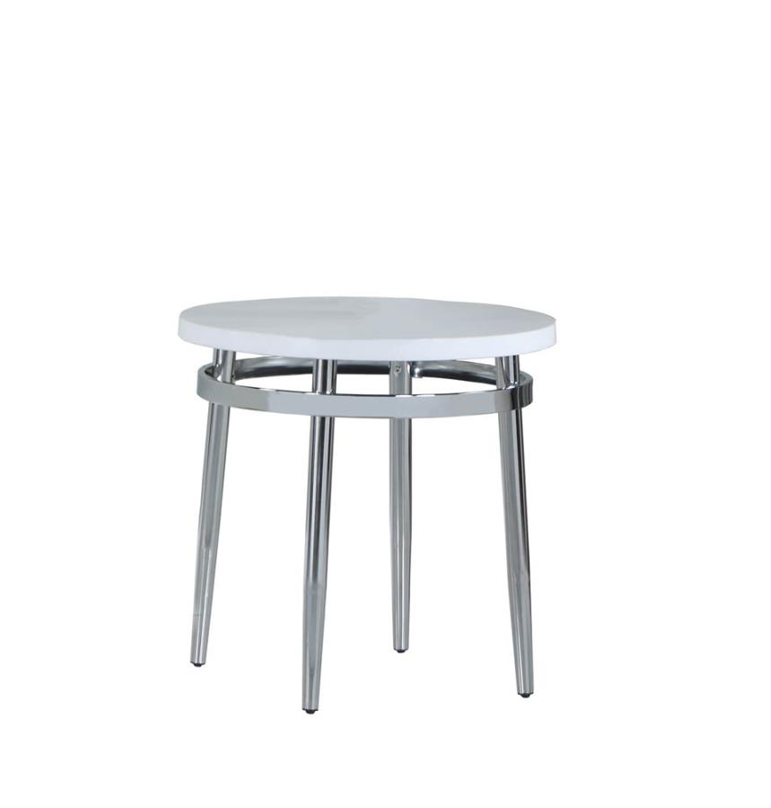 722967 Wildon home chrome finish metal and round faux marble top end table