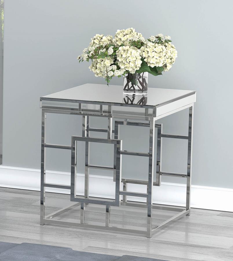 723077 Orren ellis enjoy mirrored top and chrome metal frame end table