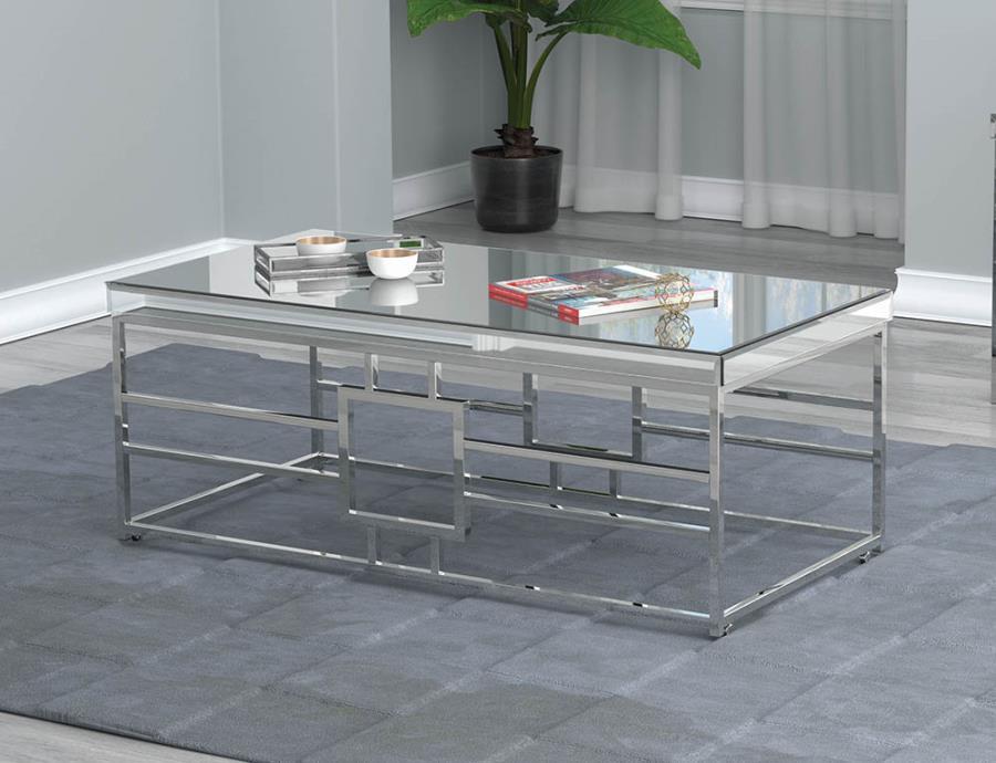723078 Orren ellis enjoy mirrored top and chrome metal frame coffee table