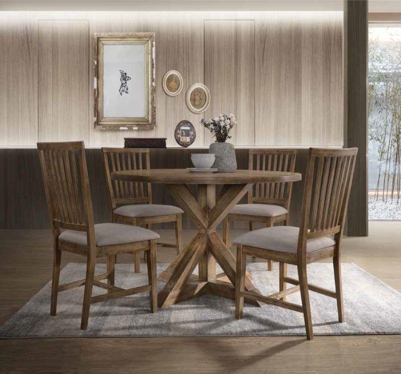 """Acme 72310-12 5 pc Wallace II weathered oak finish wood 48"""" Dia. round dining table set"""