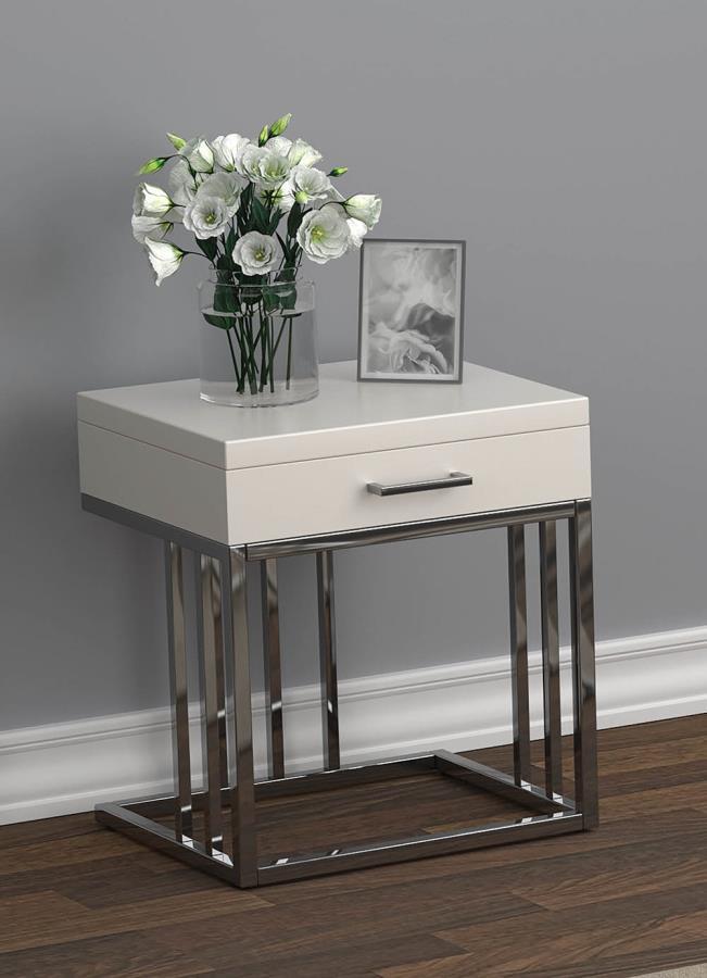723137 Orren ellis 1 drawer glossy white chrome metal frame end table