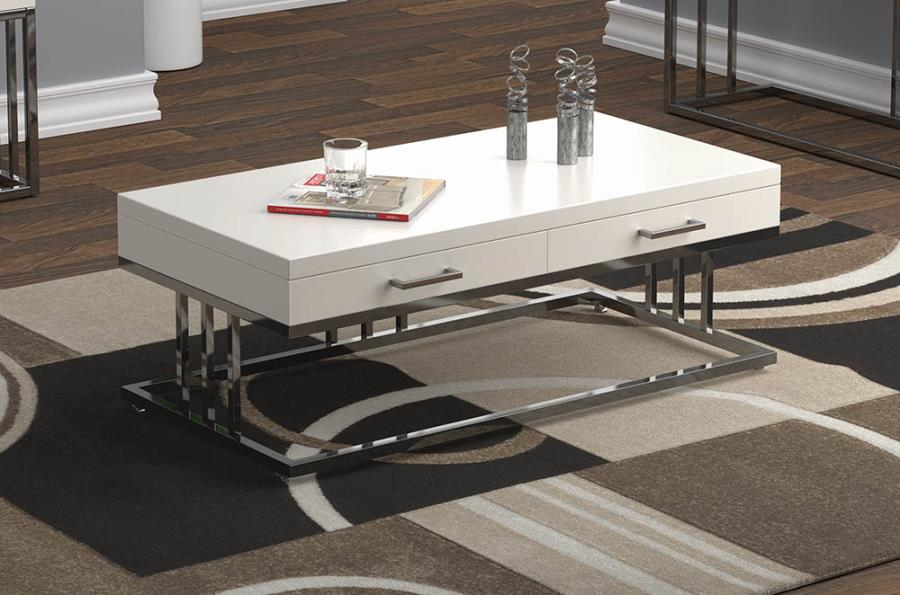 723138 Orren ellis 2 drawer glossy white chrome metal frame coffee table