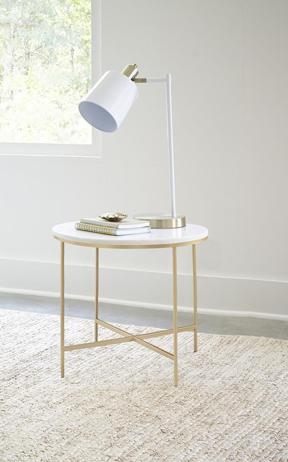 723207 Mercer 41 flack modern marble top gold metal round end table