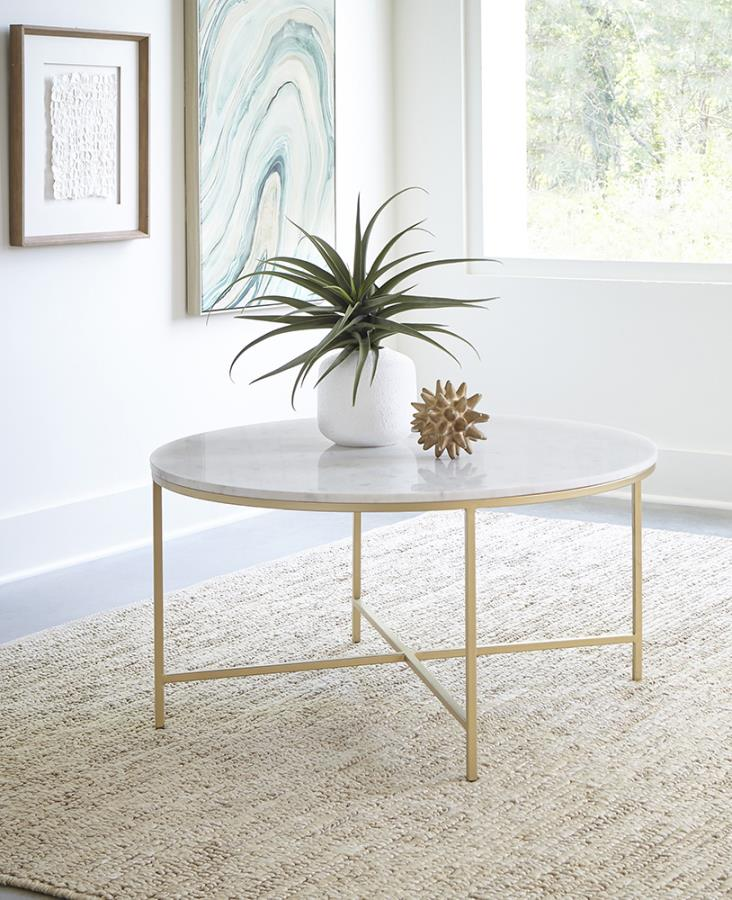 723208 Mercer 41 flack modern marble top gold metal round coffee table