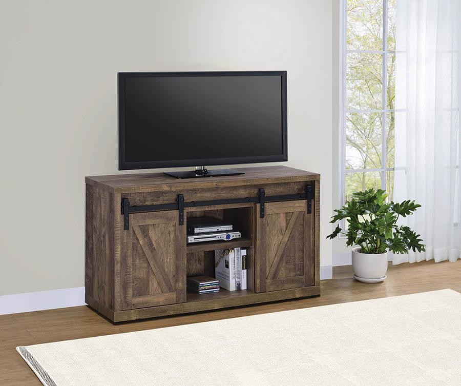 "723271 Gracie oaks rustic oak finish wood farmhouse 48"" tv stand with sliding doors"