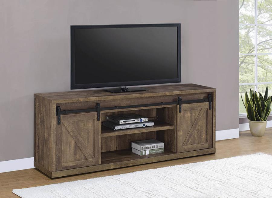 "723273 Gracie oaks rustic oak finish wood farmhouse 71"" tv stand with sliding doors"