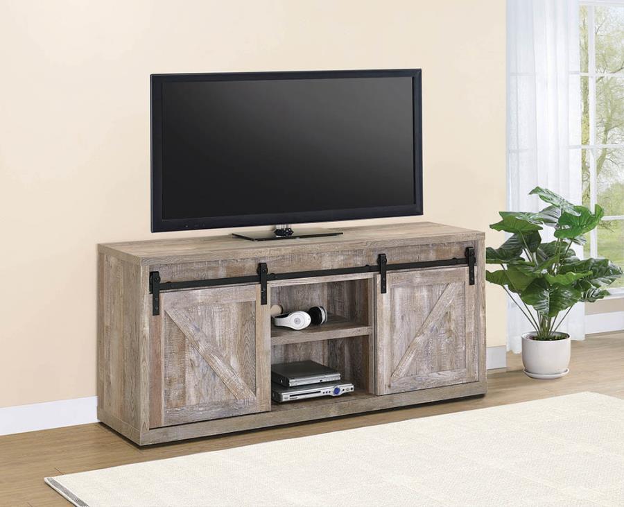 "723282 Gracie oaks weathered oak finish wood farmhouse 59"" tv stand with sliding doors"