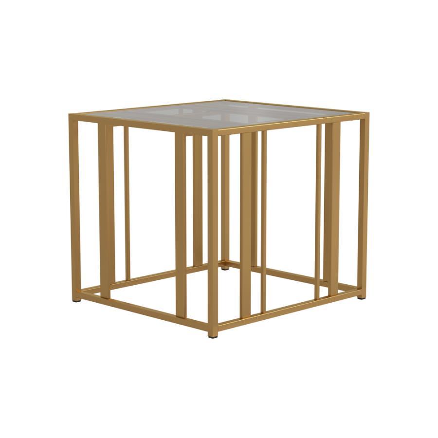 723607 Wildon home orren ellis matte brass finish metal glass top end table