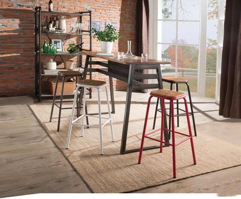 Acme 72385 5 pc Scarus natural finish wood to gunmetal frame bar table set