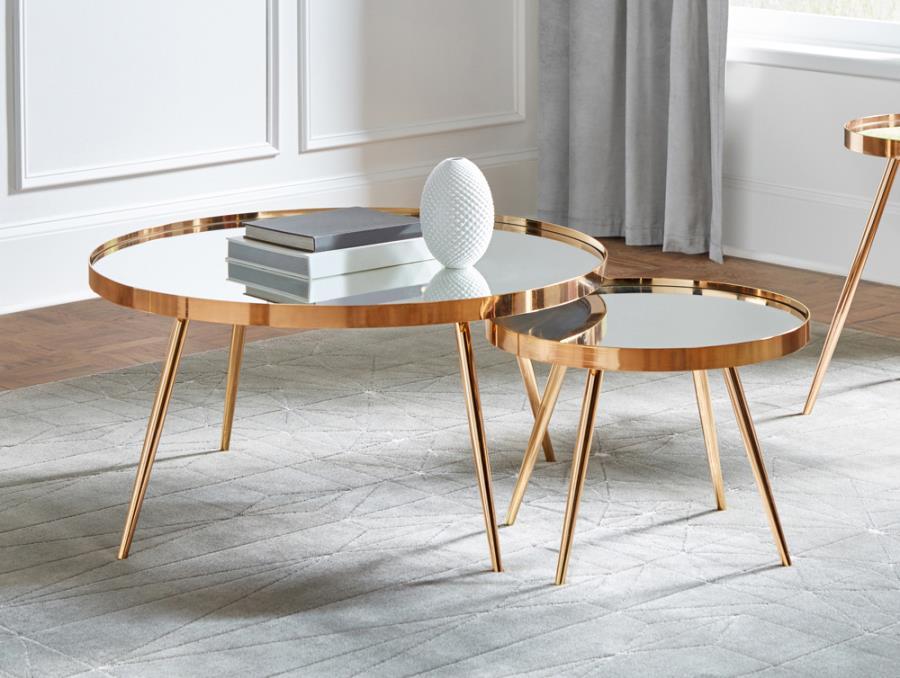 723918 2 pc Wildon home orren ellis gold round nesting mirror top coffee table set