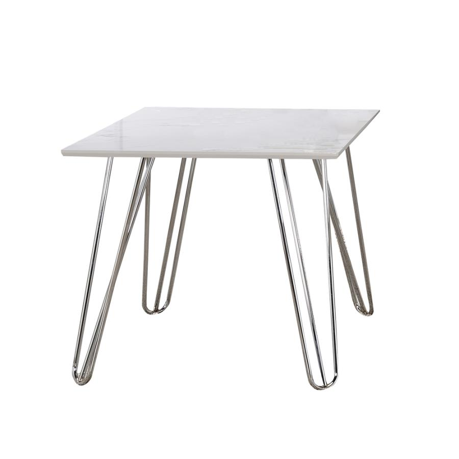 724287 Wildon home chrome finish metal and square faux marble top end table