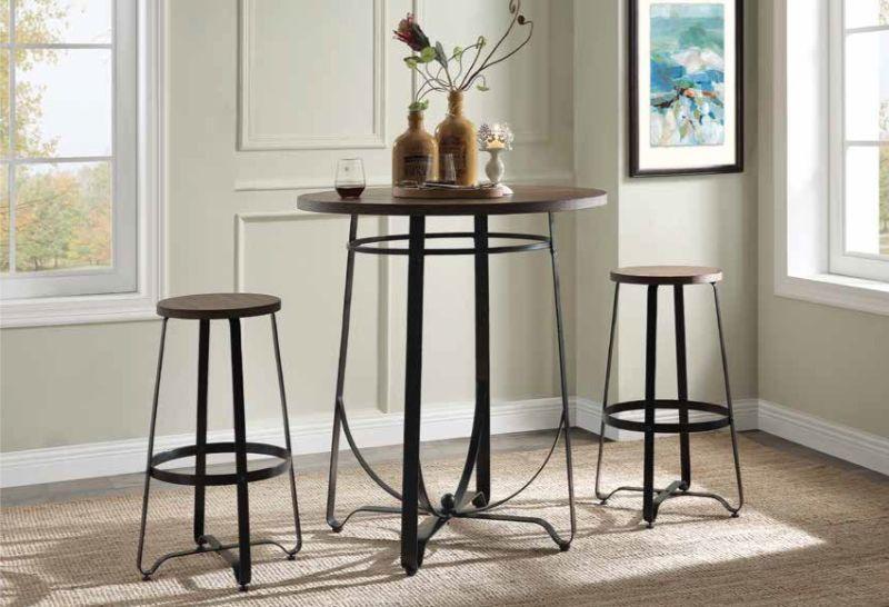 "Acme 72440 3 pc Nirav oak and walnut finish wood and metal 38"" round bar height table set"