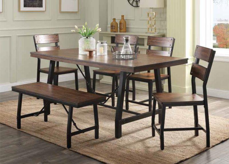 Acme 72455-57-58 6 pc Mariatu industrial oak finish wood dining table set