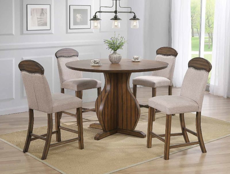 """Acme 72460-62 5 pc Maurice oak finish wood 53"""" round counter height dining table set"""