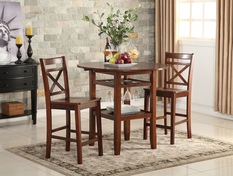 Acme 72535-37 3 pc Tartys cherry finish wood round counter height drop leaf bar table set