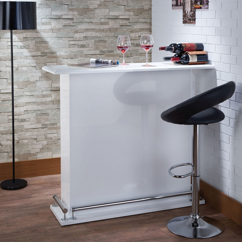 Acme 72580 Kite high glosss white finish wood bar table stand cabinet unit