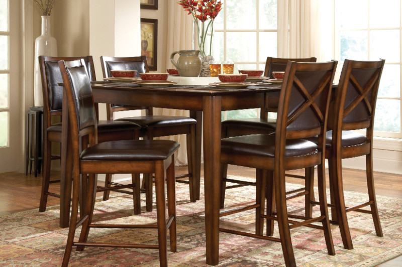 Homelegance HE-727-36 7 pc Verona amber finish wood counter height dining table set